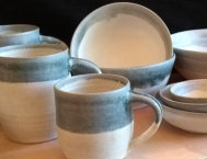 Grey and white tableware